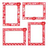 Set of cute frames with flowers and hearts Royalty Free Stock Photo