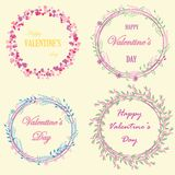 Set of cute frames from flowers, plants and hearts. You can use for greeting cards for wedding, Valentine`s day, mother`s day, birthday, March 8 Stock Image
