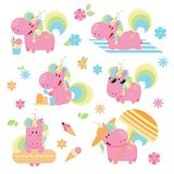 Set of cute and fun summer pink unicorn on a beach. Flat vector illustration Royalty Free Stock Images