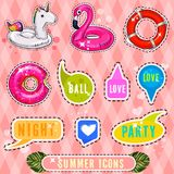 Set of cute and fun summer stickers badges icons patches design elements. Beautiful illustration Vector Illustration