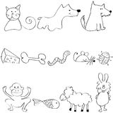 Set of cute and funny animals. Vector set of cute and funny animals stock illustration