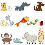 Set of cute and funny animals. Vector set of cute and funny animals Stock Photo