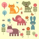 Set of cute animals. Set of cute funny animals stock illustration