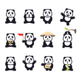 Set of cute funny cartoon pandas Royalty Free Stock Photos