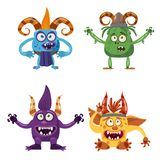 Set of cute funny characters troll, bigfoot, yeti, imp, with different emotions, cartoon style, for books, advertising royalty free illustration