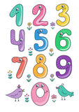 Set of cute and funny colorful smiling number characters from 0 to 9 Royalty Free Stock Photography
