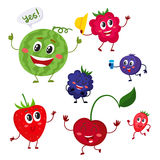 Set of cute and funny comic berry characters. Set of cute and funny berry characters - watermelon, blackberry, strawberry, raspberry, blueberry, cherry, cartoon stock illustration