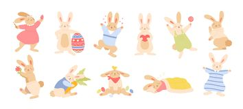 Set of cute funny Easter rabbits or bunnies isolated on white background. Bundle of adorable happy animals holding egg vector illustration