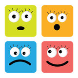 Set of cute funny face emotions. Square icons. Flat design style. Vector illustration Stock Images