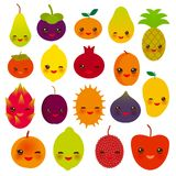 Set of cute funny kawaii fruit Pear Mangosteen tangerine pineapple papaya persimmon pomegranate lime apricot plum dragon fruit fig. S mango peach lemon lychee Stock Photography
