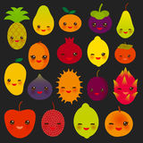 Set of cute funny kawaii fruit Pear Mangosteen tangerine pineapple papaya persimmon pomegranate lime apricot plum dragon fruit fig. S mango peach lemon lychee Royalty Free Stock Photos