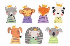 Cute little animals in crowns set