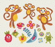 Set of cute and funny monsters and animals. Stock Image