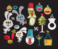Set of cute and funny monsters for Christmas. Stock Images