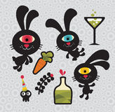 Set of cute and funny monsters rabbits. Royalty Free Stock Image