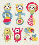 Set of cute and funny monsters. Royalty Free Stock Image