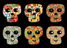 Set of cute and funny skulls. Stock Photos