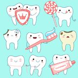 Set of cute teeth icons in kawaii style Stock Photos