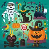 Set of cute ghost, cat, castle, scull, pumpkin with head and other spooky characters, elements and treats for Halloween Royalty Free Stock Image