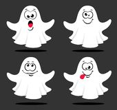 Set of cute ghosts isolated on gray background with different emotions. Vector illustration royalty free illustration