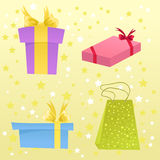 Set of cute gift boxes. Set of different cute gift boxes Stock Image