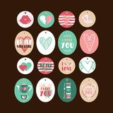 Set of cute gift tags. For Valentine`s day Stock Images