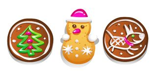 Set of cute gingerbread cookies for Christmas. Isolated on white background. Vector illustration. Set of cute gingerbread cookies for Christmas. Isolated on Stock Images