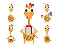 Cute giraffe celebrating birthday party. Set of Cute giraffe vector illustration. Eating ice cream, holding gift box and ballons, drinking champagne, holding Stock Images