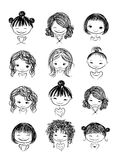Set of cute girl characters, cartoon for your. Design, vector illustration Stock Photo