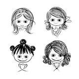 Set of cute girl characters, cartoon for your design. Vector illustration Stock Photography