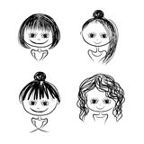 Set of cute girl characters, cartoon for your design. Vector illustration Royalty Free Stock Photography