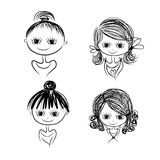 Set of cute girl characters, cartoon for your design Royalty Free Stock Images