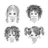 Set of cute girl characters, cartoon for your design Stock Image