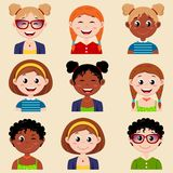 Set of cute girl characters with different hairstyle and clothes. Girls avatar. Vector illustration Stock Photos