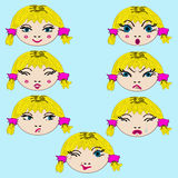 Set of cute girl emotion faces  on cyan background. Cartoon set of cute girl emotion faces  on cyan background. Expression, emoji and emoticons colection. Vector Royalty Free Stock Image