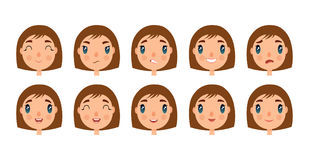Set of cute girl faces for you design. Flat and cartoon style. White background. Vector illustration. Royalty Free Stock Images