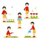 Set. Cute girl growing flowers. royalty free illustration