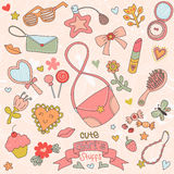 Set of Cute Girl's Stuffs Royalty Free Stock Images