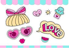 Set of cute girlish vector stickers for lol surprise party. Doll`s style element of design. royalty free illustration