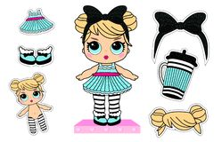 Set of cute girlish vector stickers for lol surprise party. Doll`s style element of design. vector illustration