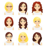 Set of cute girls Royalty Free Stock Images
