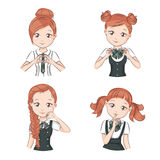 Set of cute girls. Set of cute girls with different hairstyles and different stylish school uniform for your design. They smile and showing different signs Royalty Free Stock Photo
