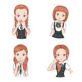 Set of cute girls. Set of cute girls with different hairstyles and different stylish school uniform for your design. They smile and showing different signs.  on Stock Photography