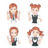 Set of cute girls. Stock Photo