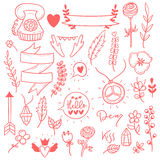 Set of cute girly boho doodle stickers. Stock Images