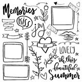 Set of cute and girly jand drawn vector doodle stickers. Stock Image
