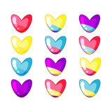 Set of cute glamour hearts in acid colors stock illustration