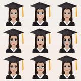 Set of cute graduate student emoticons. Stock Photo