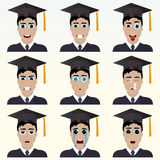 Set of cute graduate student emoticons. Royalty Free Stock Images