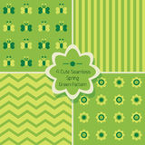 Set of 4 cute green seamless patterns Royalty Free Stock Images